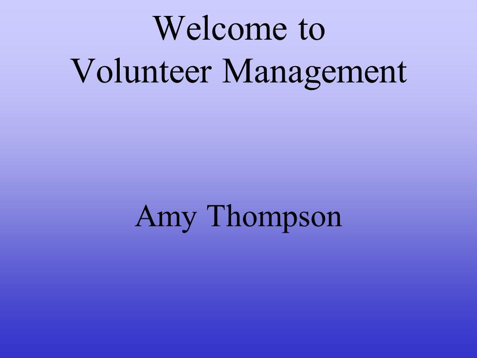 Welcome to Volunteer Management