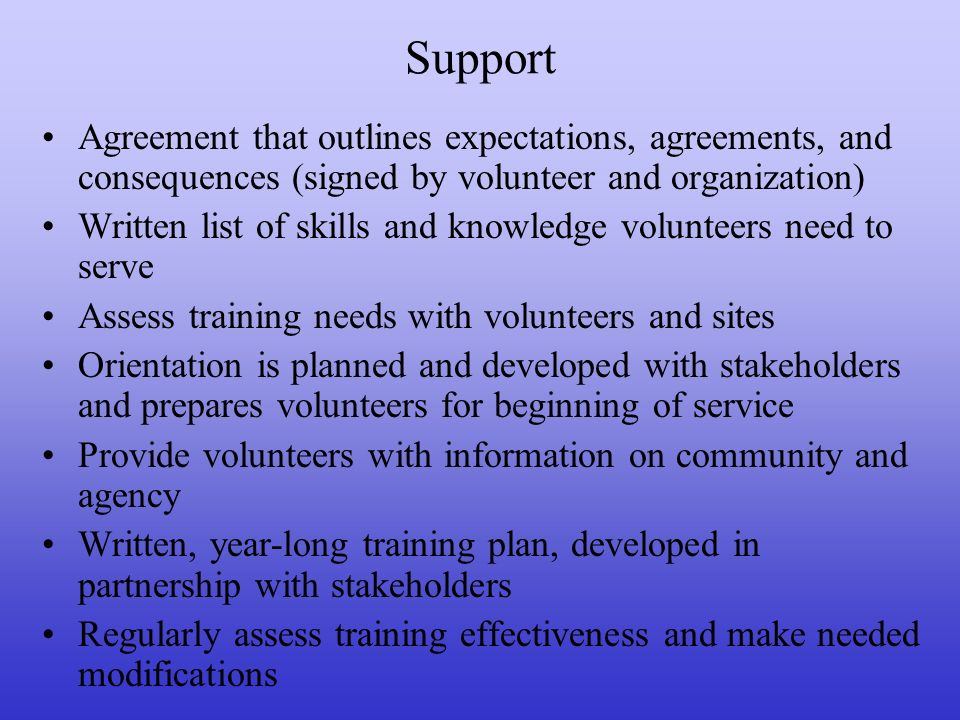 Support Agreement that outlines expectations, agreements, and consequences (signed by volunteer and organization)
