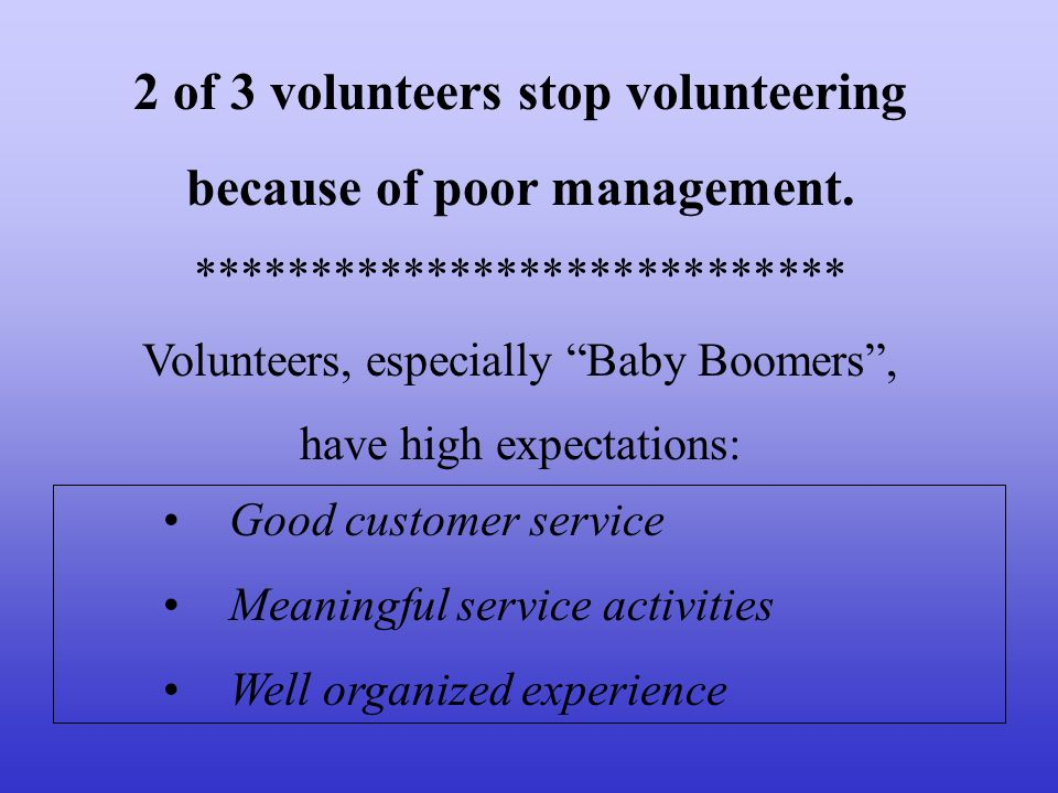 2 of 3 volunteers stop volunteering because of poor management.