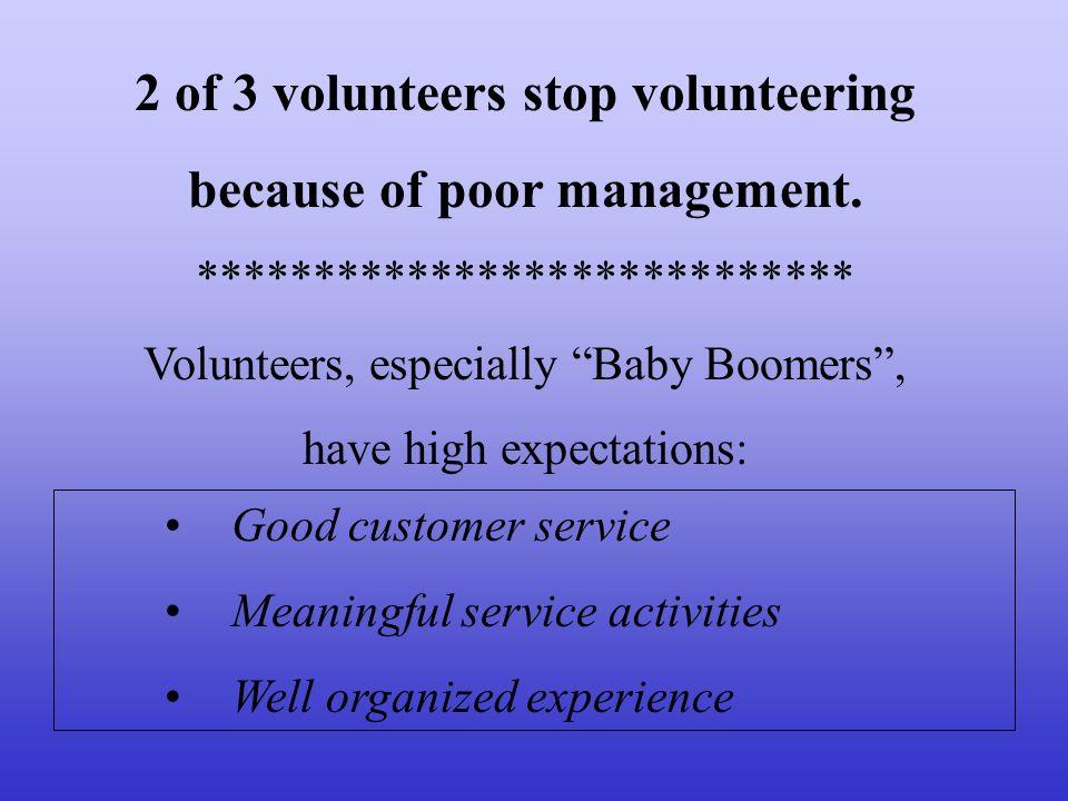 2 of 3 volunteers stop volunteering because of poor management.