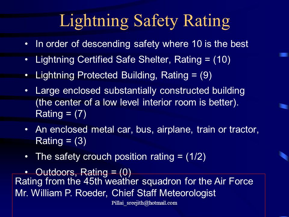 Lightning Safety Rating