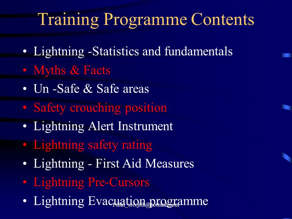 Training Programme Contents