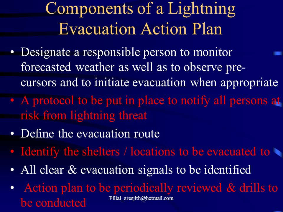 Components of a Lightning Evacuation Action Plan