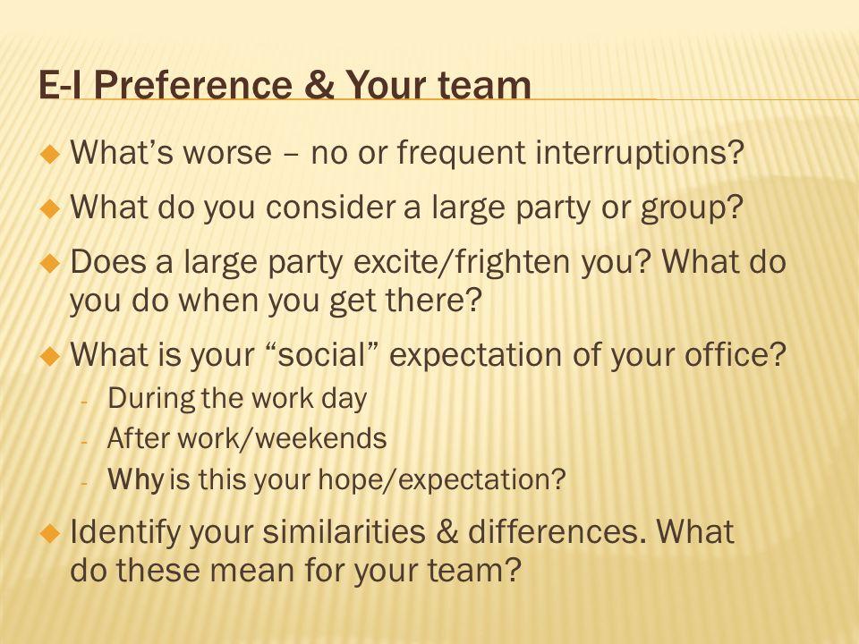 E-I Preference & Your team
