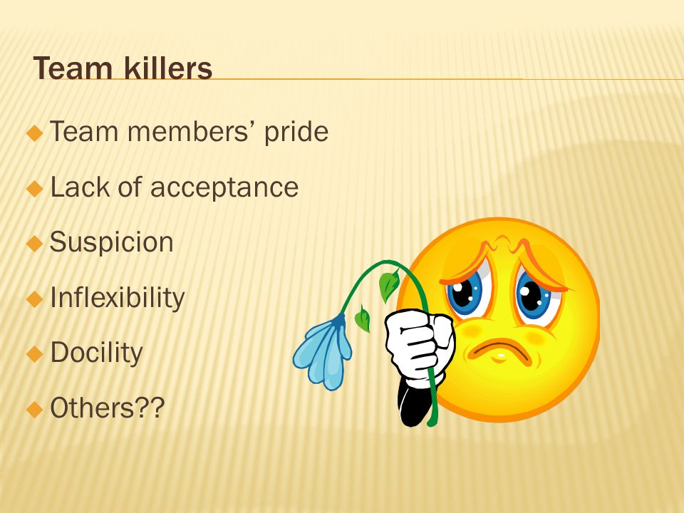 Team killers Team members' pride Lack of acceptance Suspicion