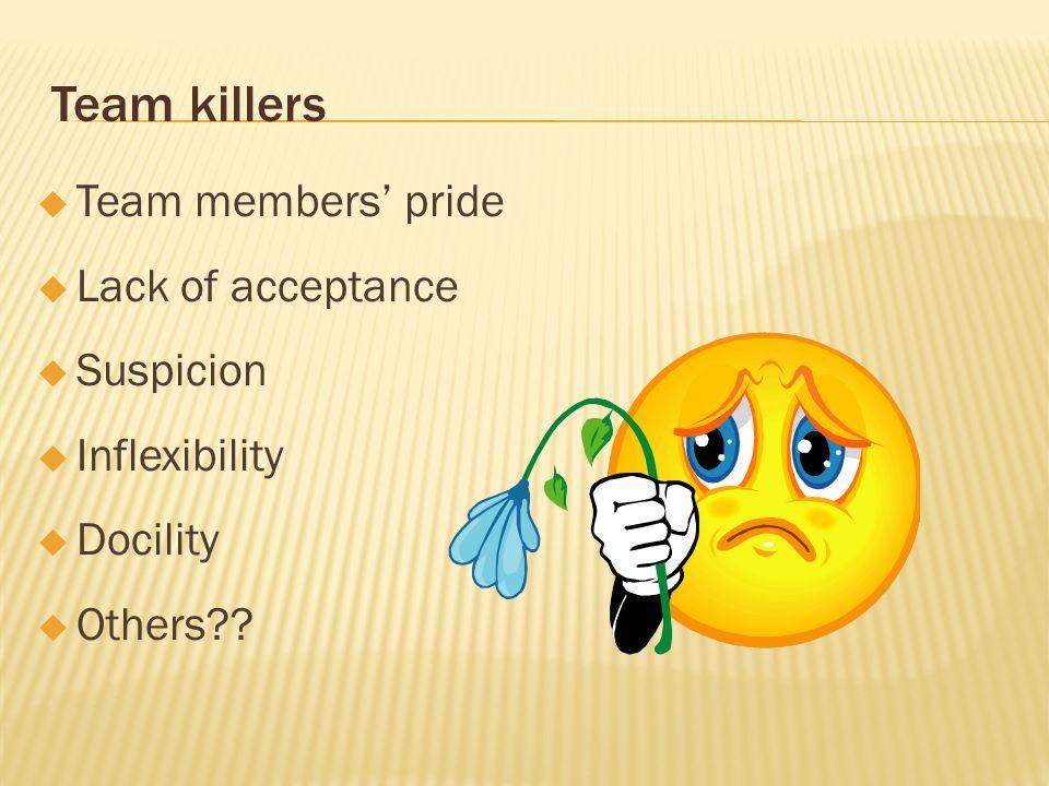 Team killers Team members' pride Lack of acceptance Suspicion