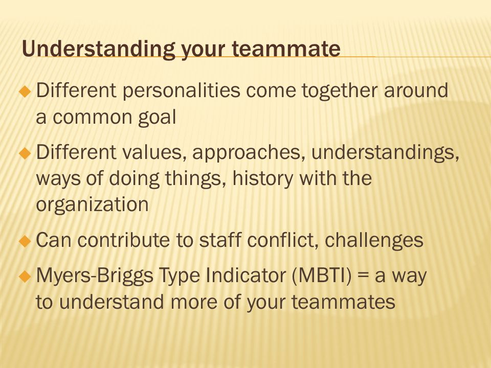 Understanding your teammate