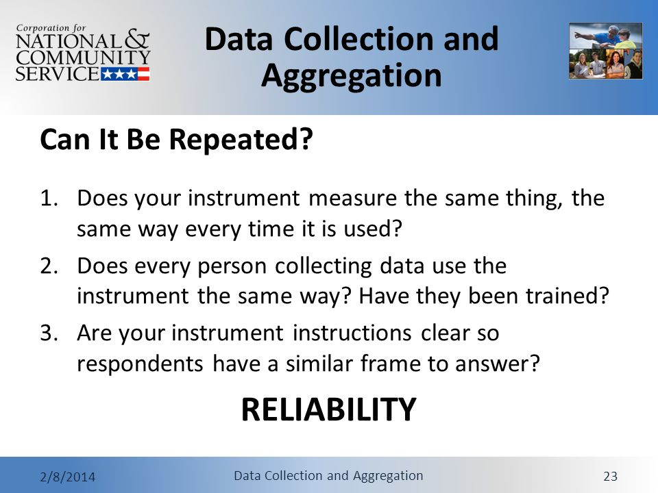 RELIABILITY Can It Be Repeated