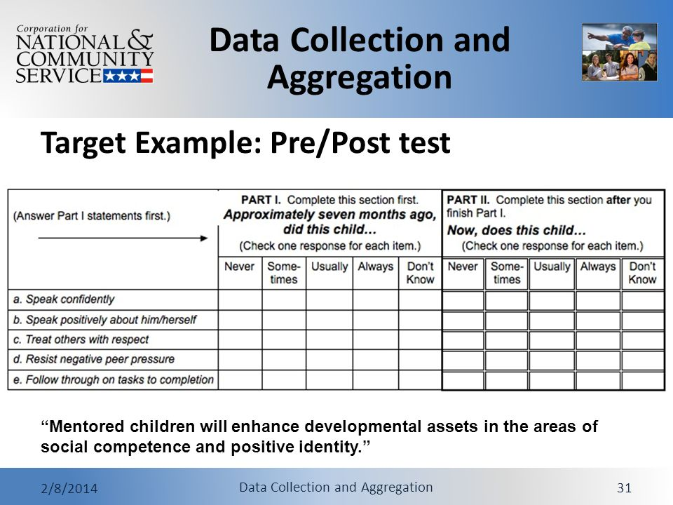 Target Example: Pre/Post test