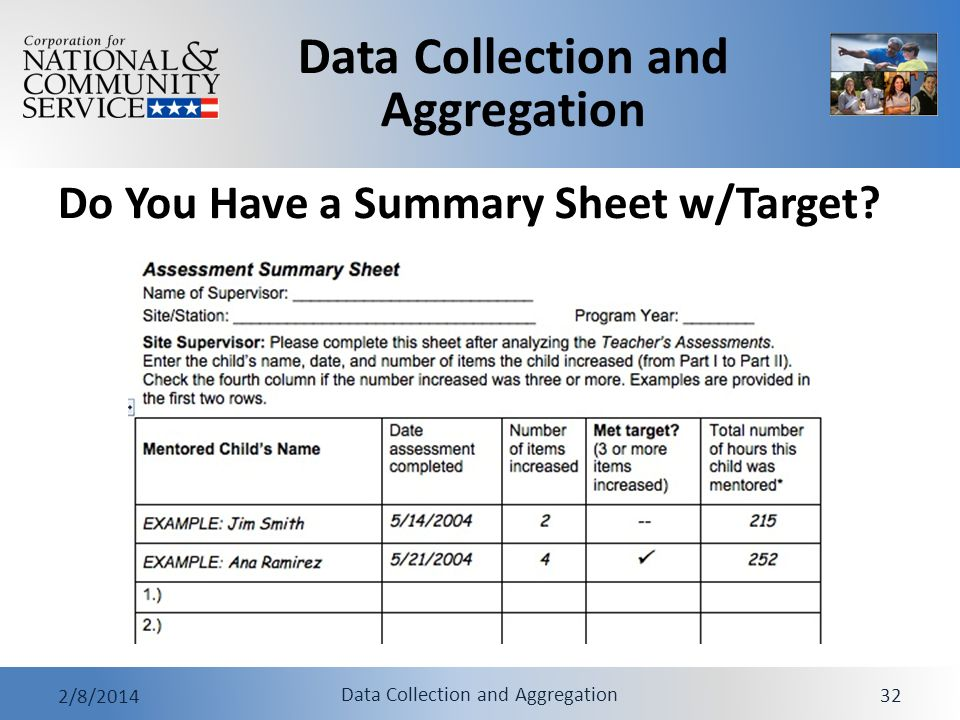 Do You Have a Summary Sheet w/Target