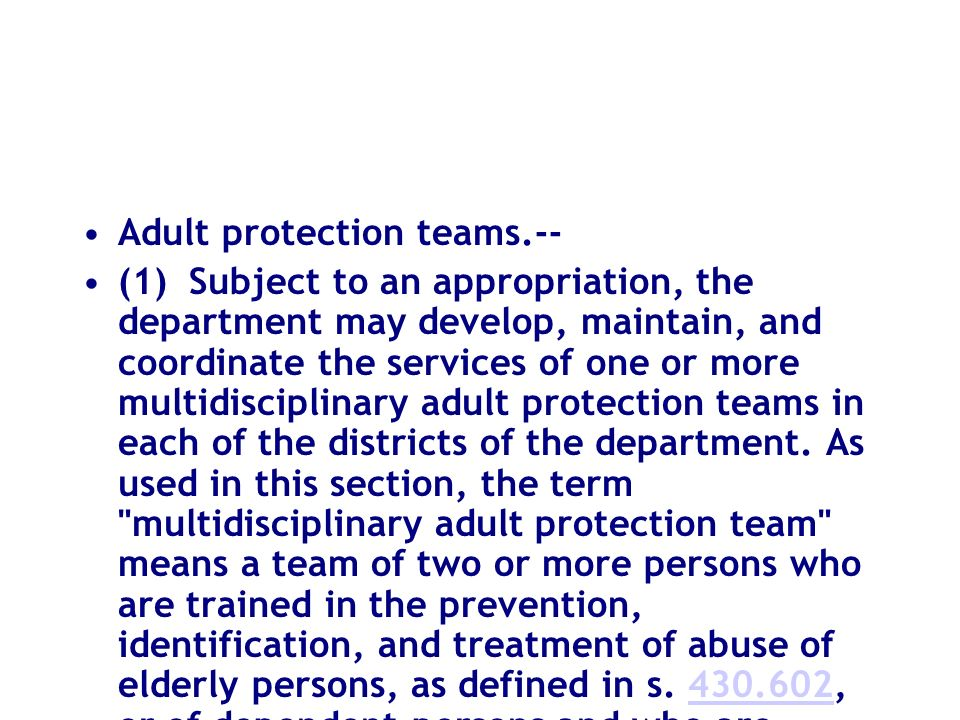 Adult protection teams.--