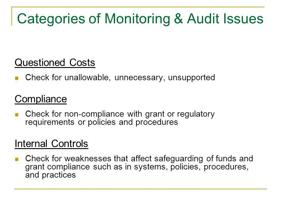 Categories of Monitoring & Audit Issues