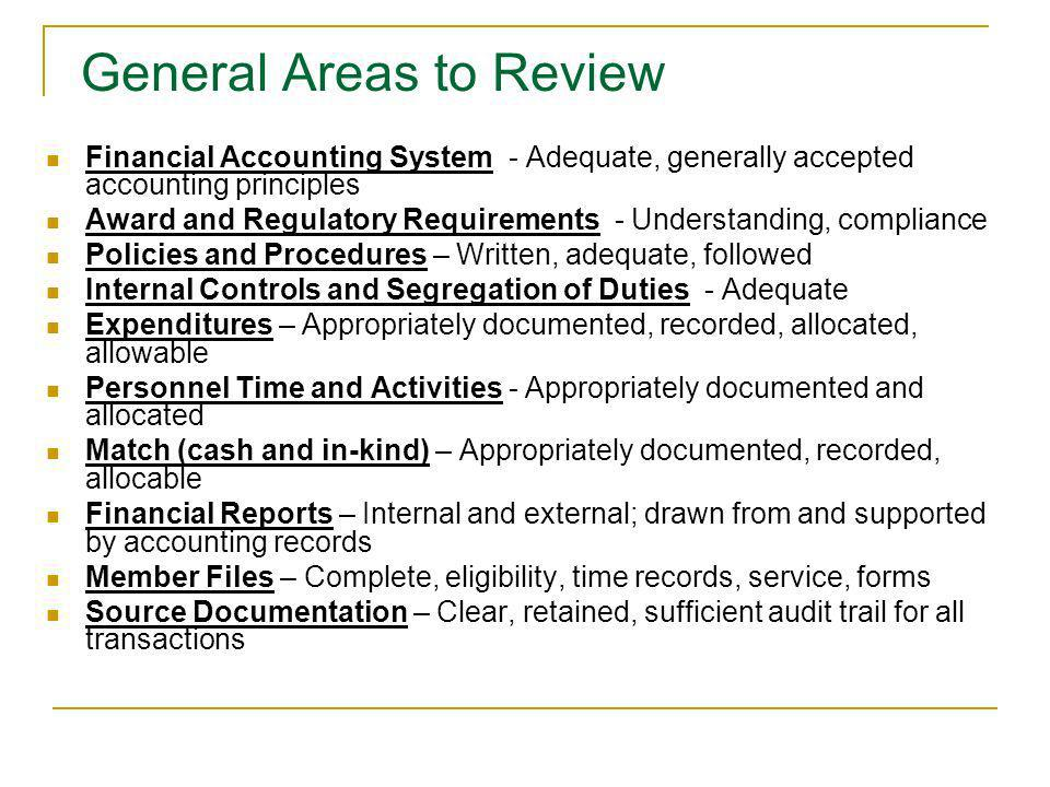 General Areas to Review