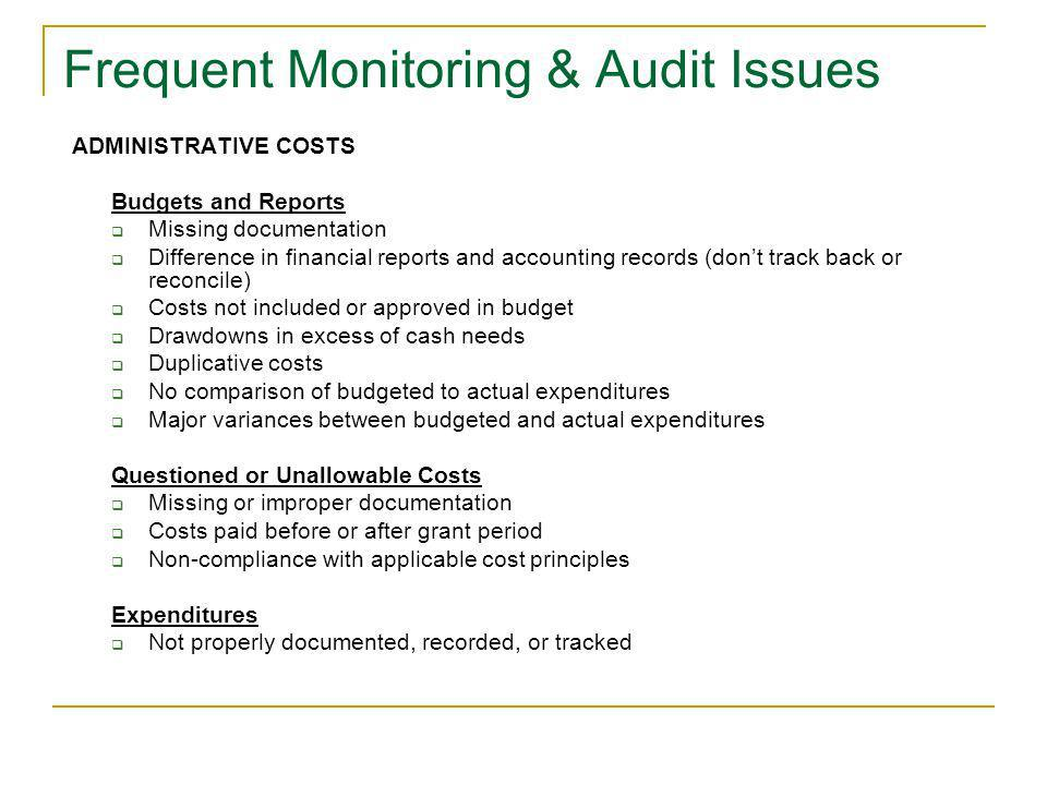 Frequent Monitoring & Audit Issues