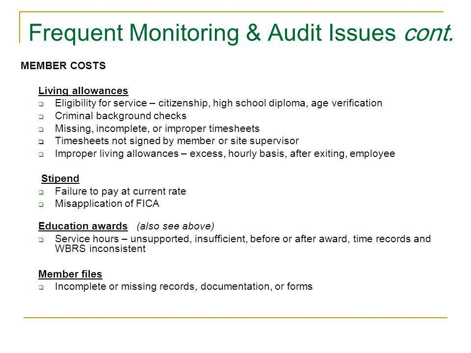 Frequent Monitoring & Audit Issues cont.