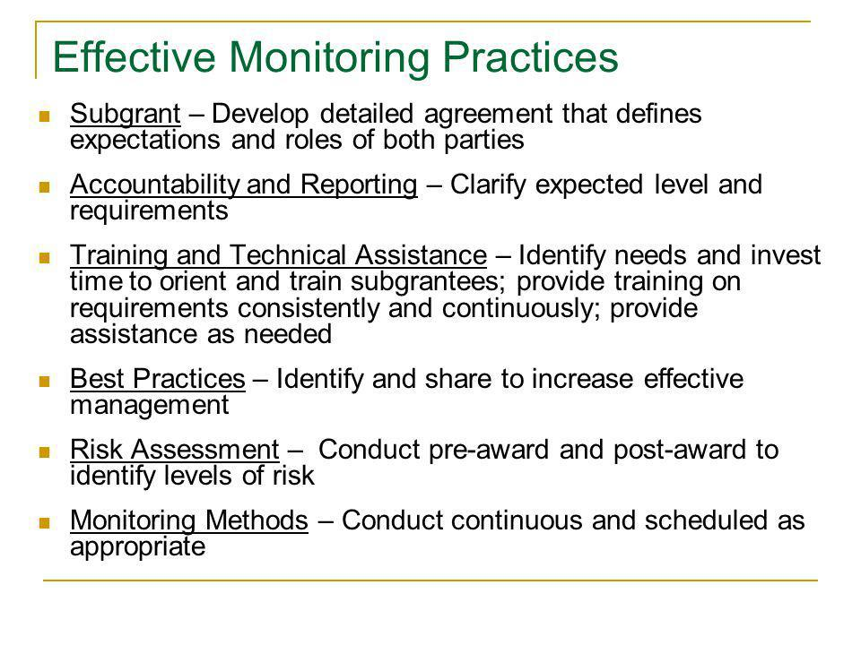 Effective Monitoring Practices