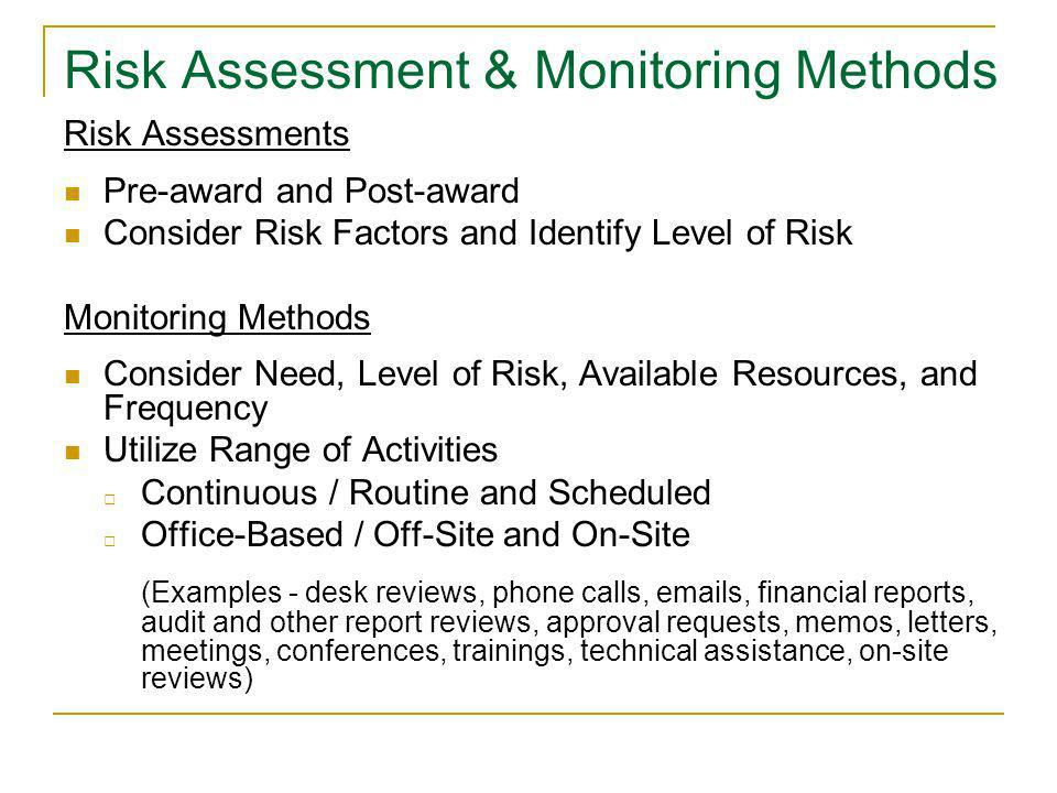 Risk Assessment & Monitoring Methods