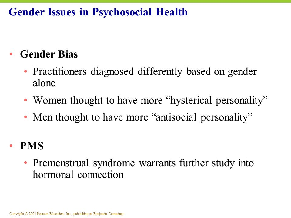 Gender Issues in Psychosocial Health