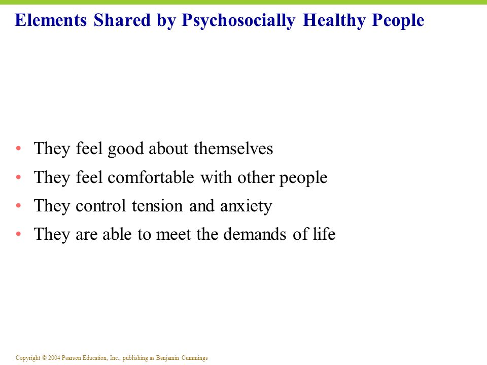 Elements Shared by Psychosocially Healthy People