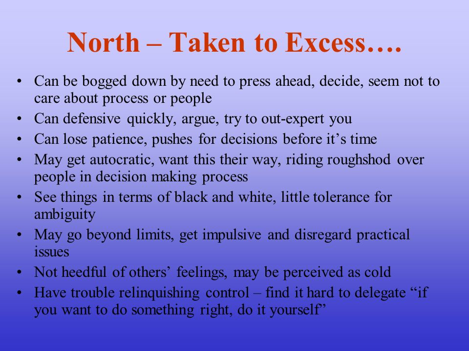 North – Taken to Excess….