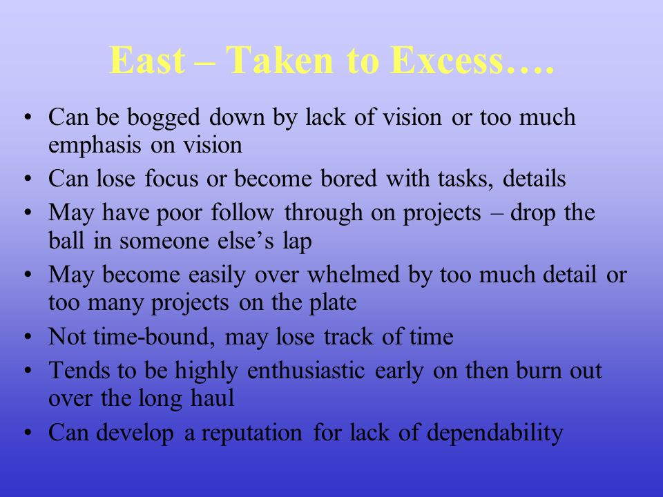 East – Taken to Excess…. Can be bogged down by lack of vision or too much emphasis on vision. Can lose focus or become bored with tasks, details.