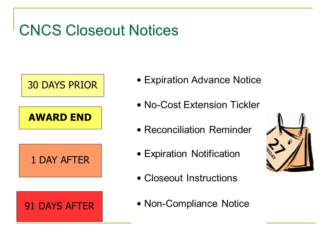 CNCS Closeout Notices 30 DAYS PRIOR Expiration Advance Notice