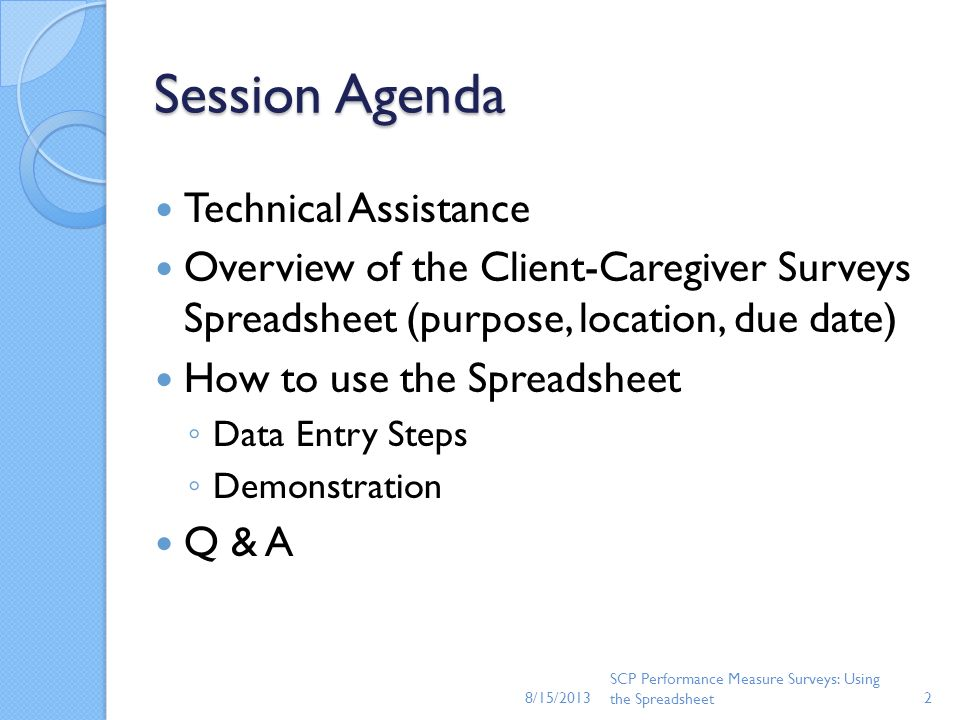 Session Agenda Technical Assistance