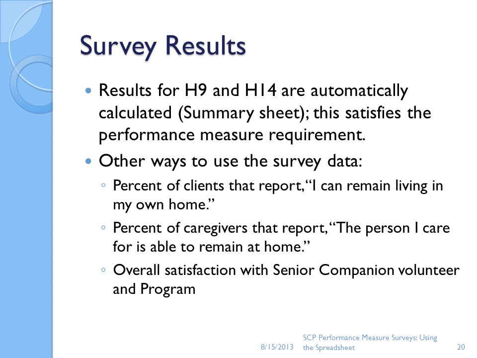 8/15/2013 Survey Results. Results for H9 and H14 are automatically calculated (Summary sheet); this satisfies the performance measure requirement.