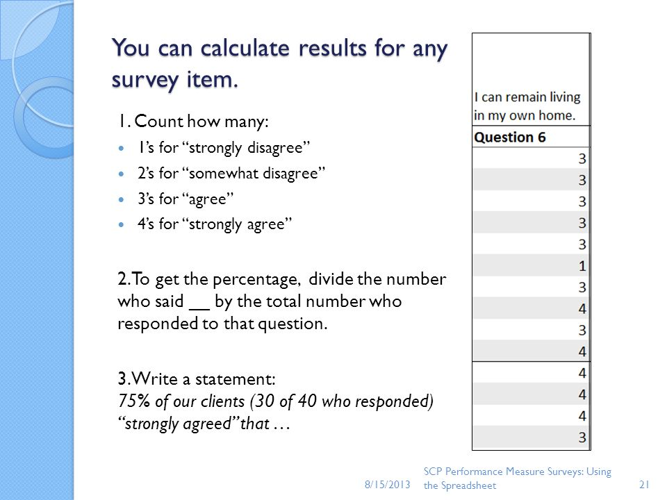 You can calculate results for any survey item.