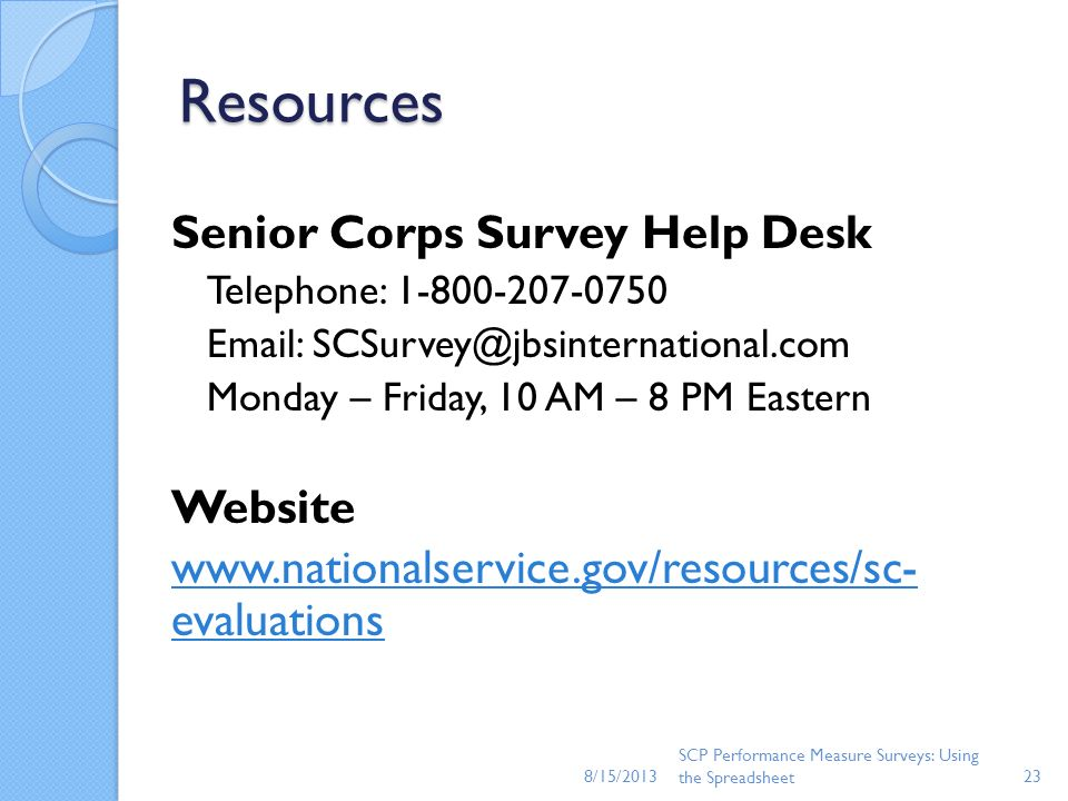 Resources Senior Corps Survey Help Desk Website