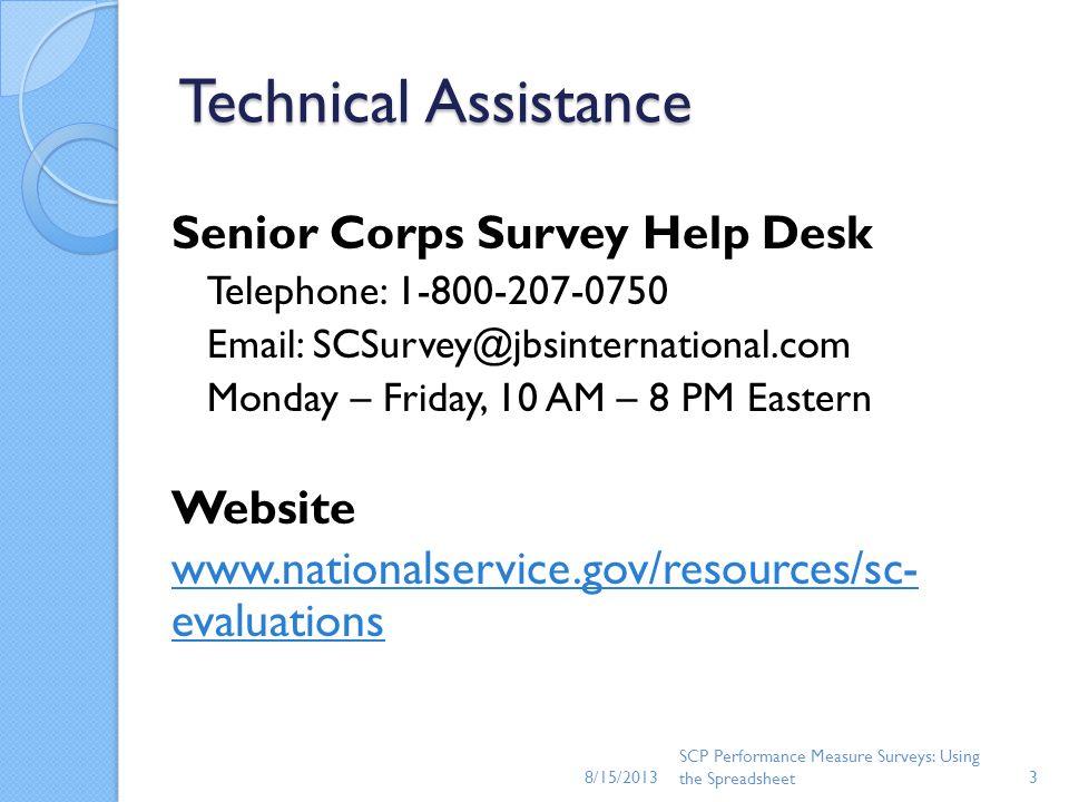 Technical Assistance Senior Corps Survey Help Desk Website