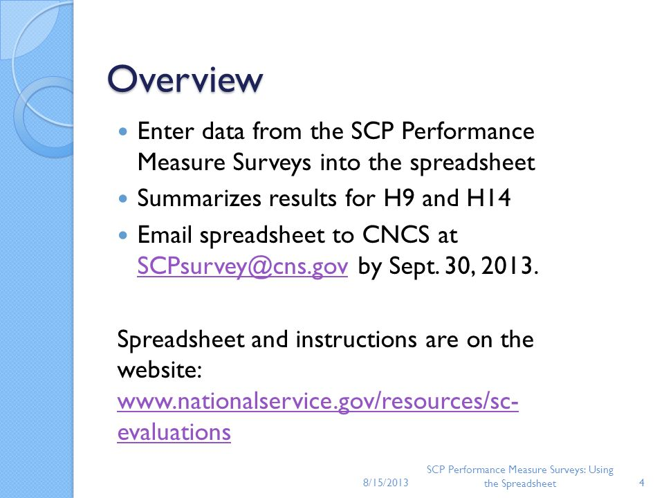SCP Performance Measure Surveys: Using the Spreadsheet