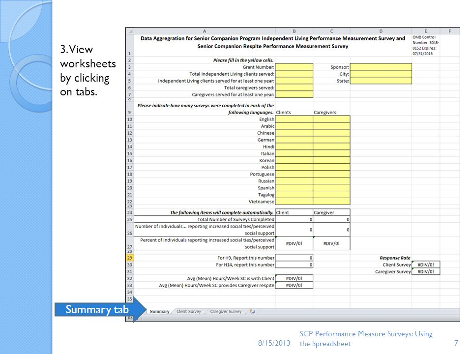 3. View worksheets by clicking on tabs.