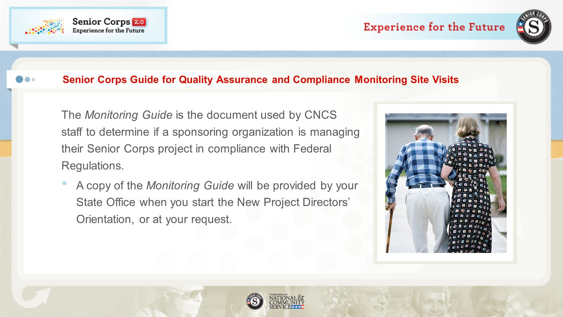 Senior Corps Guide for Quality Assurance and Compliance Monitoring Site Visits