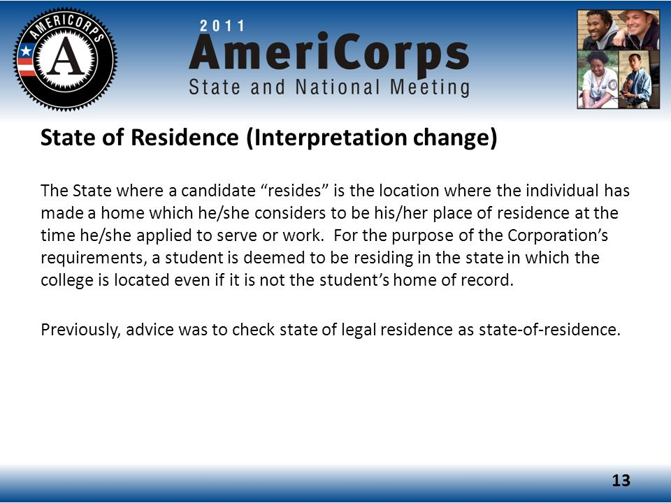 State of Residence (Interpretation change)