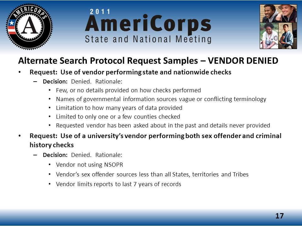 Alternate Search Protocol Request Samples – VENDOR DENIED