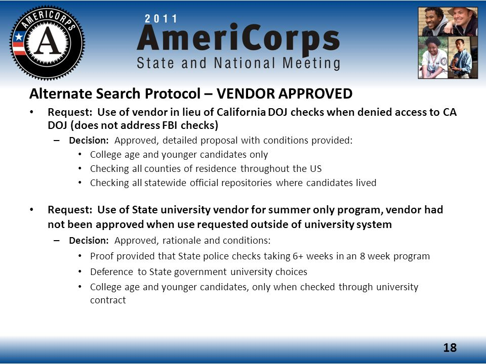 Alternate Search Protocol – VENDOR APPROVED