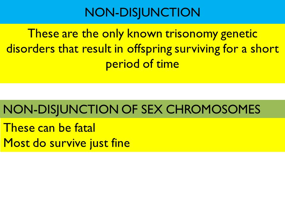 NON-DISJUNCTION These are the only known trisonomy genetic disorders that result in offspring surviving for a short period of time.