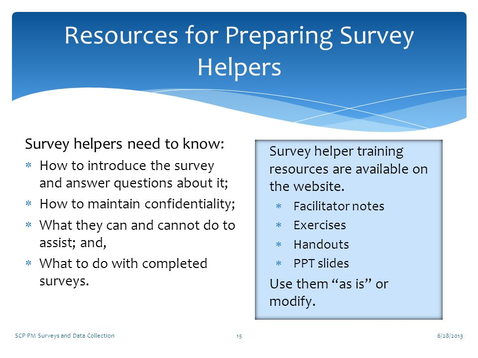 Resources for Preparing Survey Helpers