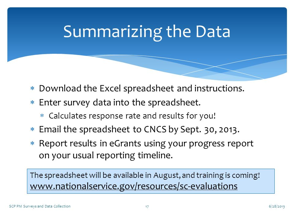 Summarizing the Data Download the Excel spreadsheet and instructions.