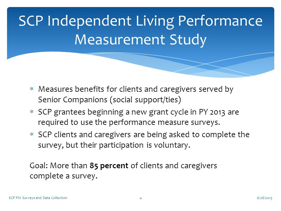 SCP Independent Living Performance Measurement Study