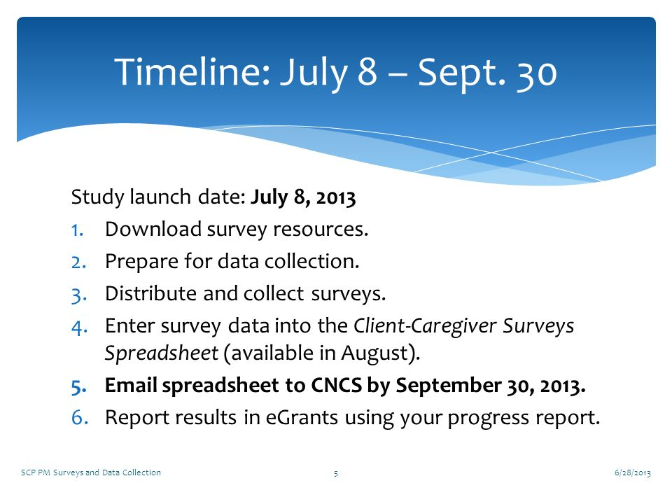Timeline: July 8 – Sept. 30 Study launch date: July 8, 2013