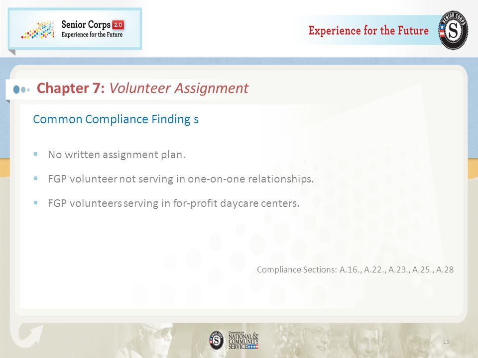 Chapter 7: Volunteer Assignment