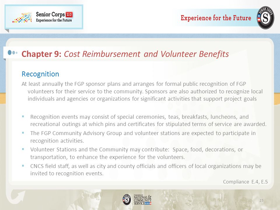 Chapter 9: Cost Reimbursement and Volunteer Benefits