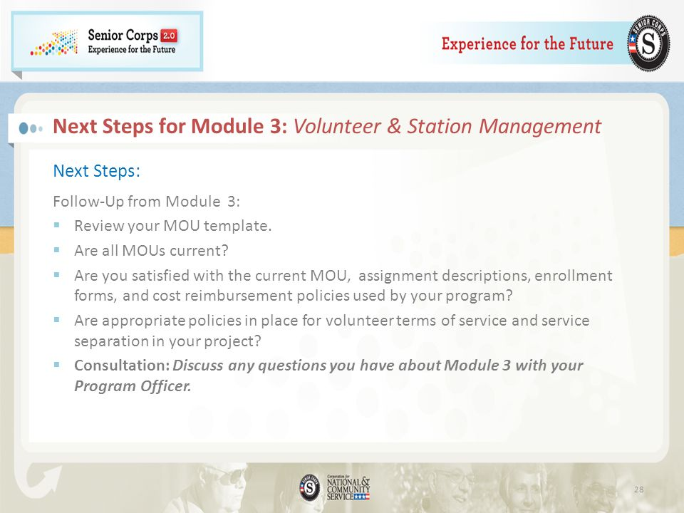 Next Steps for Module 3: Volunteer & Station Management