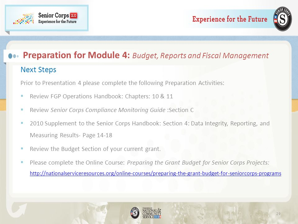 Preparation for Module 4: Budget, Reports and Fiscal Management