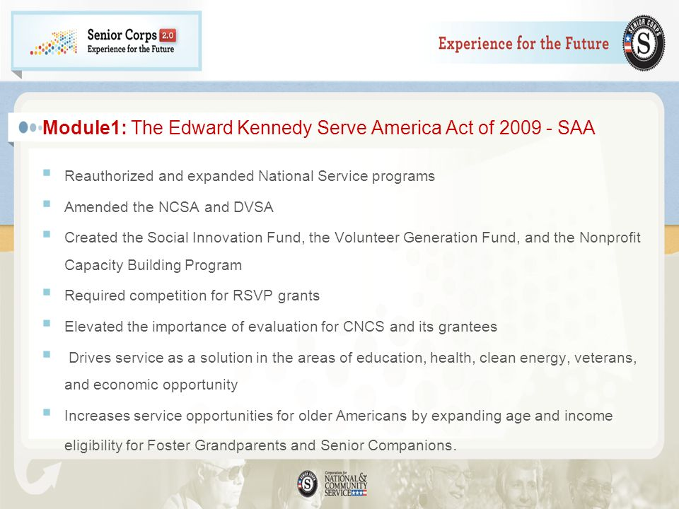 Module1: The Edward Kennedy Serve America Act of SAA