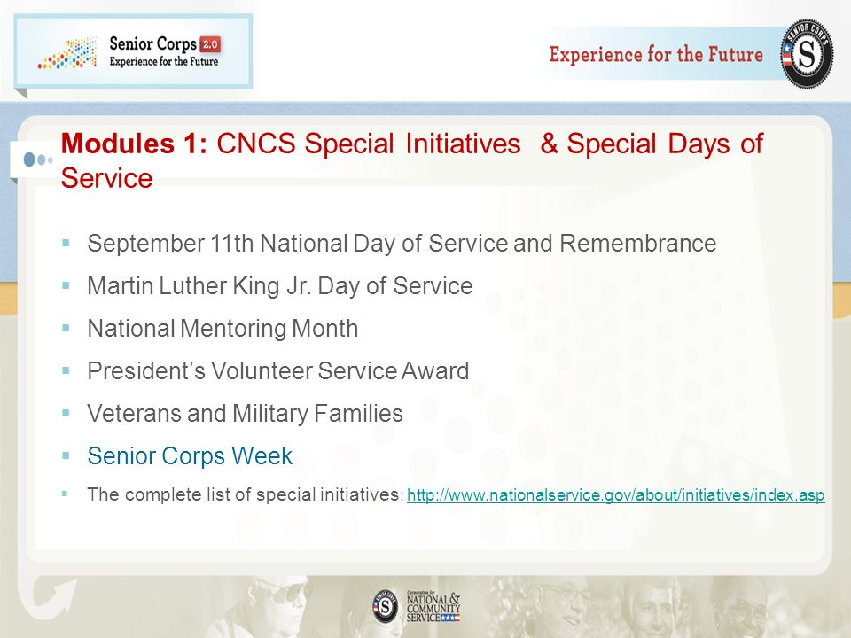 Modules 1: CNCS Special Initiatives & Special Days of Service