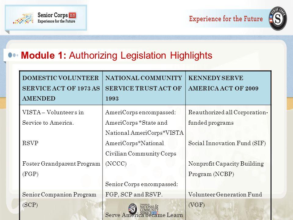 Module 1: Authorizing Legislation Highlights