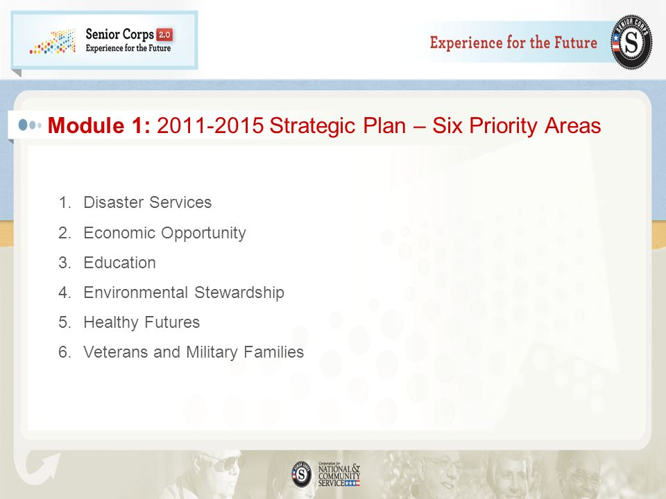 Module 1: Strategic Plan – Six Priority Areas